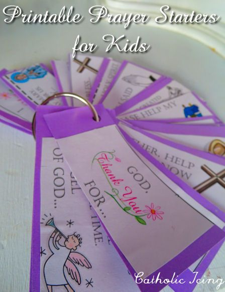 Some of the prayer starters are meant to help children with their own spontaneous prayers, and some of them prompt already established prayers. Each one has a simple clip art picture that goes with each prayer starter.