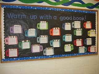 """Hot chocolate mugs. Writing about a favorite book and why. """"Warm Up With A Good Book!"""""""