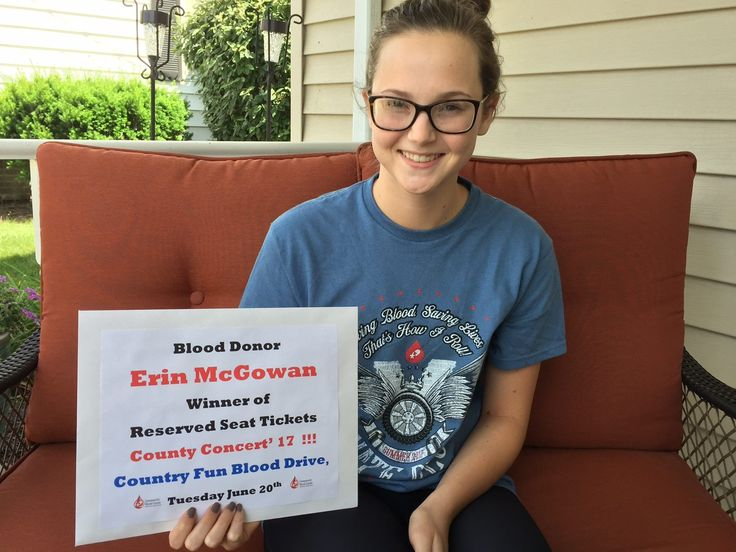 Congratulations to Erin McGowan from Fort Loramie! She won the prime set of Country Concert '17 tickets when she entered the drawing at the St. Michael's Hall Country Fun Blood Drive on June 20 & made her 4th lifetime donation! Erin is an O negative donor & both type O negative & positive are in short supply this summer. Thank you Erin & have a great time!