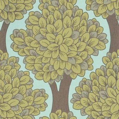 Happy Nature (347005) - Brewers Wallpapers - A stunning leaf, tree, design with a stylised shape creating a formal all over pattern.  Shown in the fresh green on sky blue. Other colours available. Please request sample for true colour match. Paste the wall.