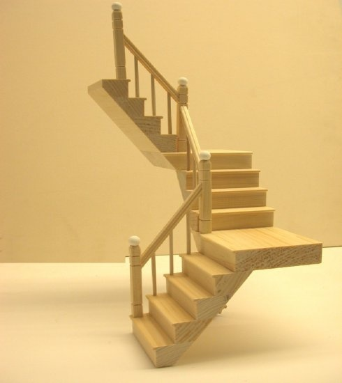 1117 - Two Landing Staircase, Smooth Spindle, 1 Rail, Left Side,