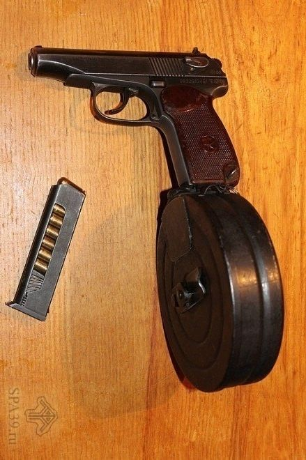 Eighty Round Magazine For Makarov Pistol ~ A Russian inventor has developed an eighty round 9x18mm magazine for the Makarov PM pistol. He writes (in Russian) that the Makarov is still in use by police in Russia not because they cannot afford new pistols but because the Makarov is genuinely loved.