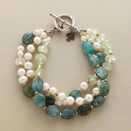 "Crème de Menthe Bracelet from Sundance. ""A three strand Bracelet that balances the fresh minty tones of prehnite with luminous pearls and sea-blue kyanite"". 7-1/2""L."