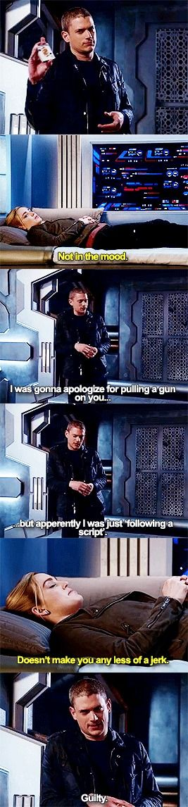 """""""I was gonna apologize for pulling a gun on you... but apparently I was just 'following a script'"""" - Leonard and Sara #LegendsOfTomorrow"""
