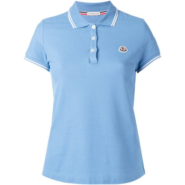 Moncler striped trim polo shirt (€175) ❤ liked on Polyvore featuring tops, blue, blue polo shirts, short sleeve tops, logo polo shirts, polo shirts and blue short sleeve top