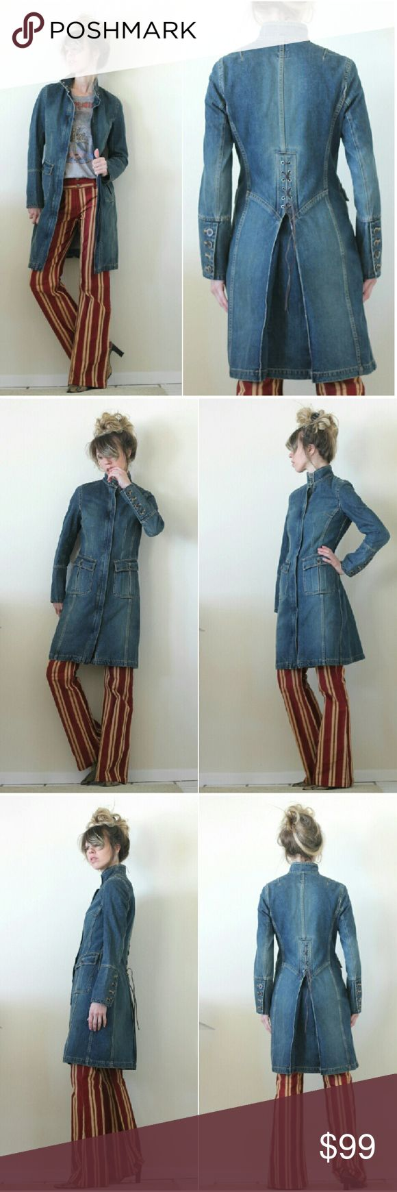 """💙 Denim Duster Coat Gap Military Style Jacket SALE Coolest GAP jean fitted coat amazing close fit - corset detail on the back  Four button cuff & zip front. really well made w/ great details, seaming, pockets & a nice weight to it.  GAP tag size small 100% cotton  Est. size S shown on 5'8"""" size 4 (approx 32d-25-35) and it?s a great fit so if your measurements are similar, should be a good fit or use for ref if you want a looser or more snug fit.  very nice preloved/ vintage condition, no…"""