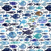 Blue Watercolour Fish by emmaallardsmith
