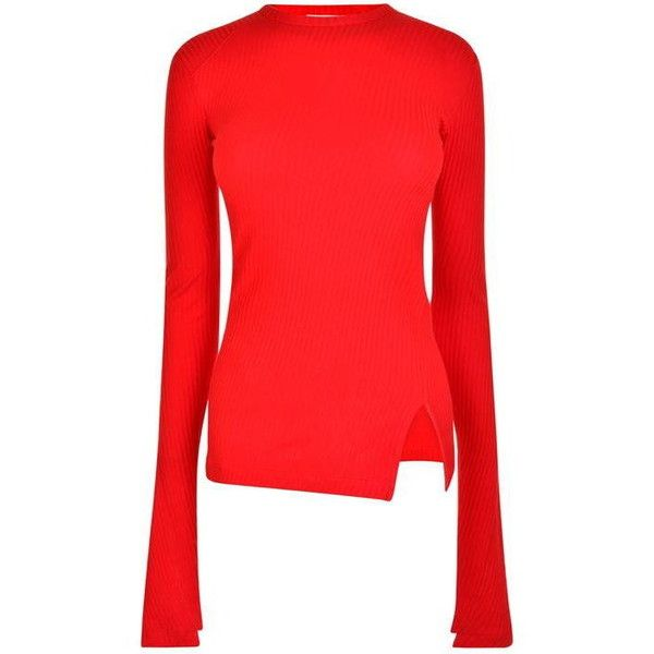 Helmut Lang Ribbed Crew Knit ($135) ❤ liked on Polyvore featuring tops, sweaters, red, crew neck sweaters, long sleeve jumper, red sweater, red jumper and knit jumper