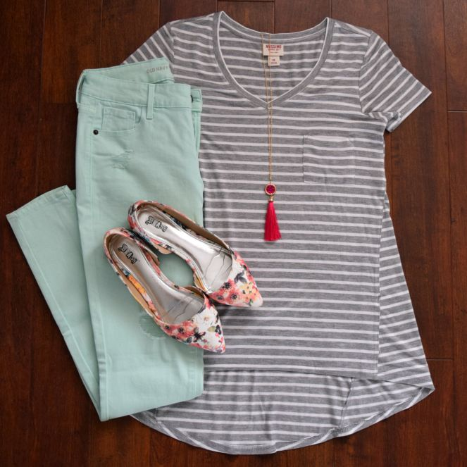 mint pants, stripes, floral flats, and tassels!