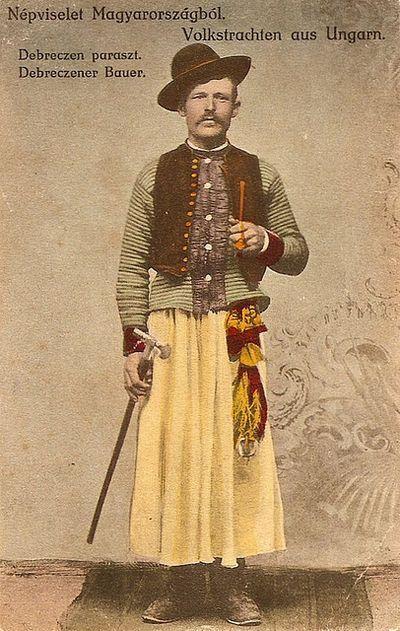 Magyar Debreceni paraszt nepi viseletben- Hungarian pessant in traditional cloth Debrecen, Hungary