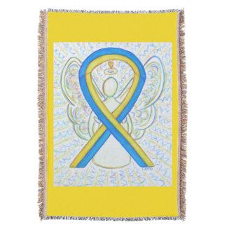 Blue and Yellow Awareness Ribbon Angel Blanket - The meaning of the yellow and blue awareness ribbon is support for Down's Syndrome.