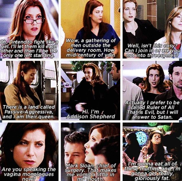 In love with Addison! I always get excited when she makes an appearance on Grey's Anatomy - Grey's Anatomy