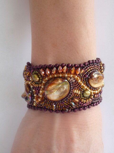 Bead Embroidery JewelryBead Pearl CuffBeautiful by BeadedAsylum, $200.00
