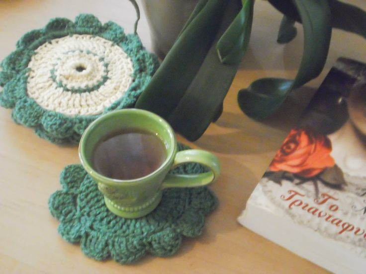 art by tasha: Coasters-a cup of tea and a book.......