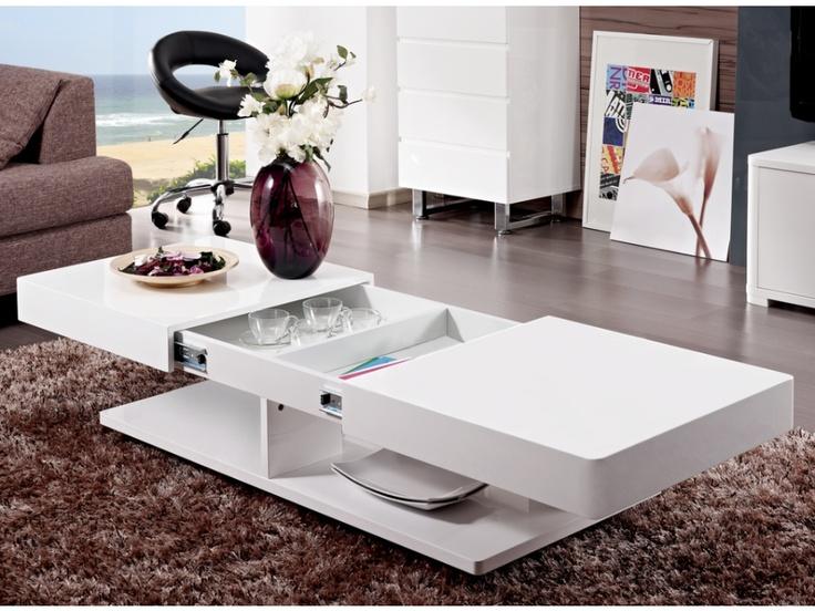 Mesa de centro ARAMIS con espacios de almacenaje - MDF lacado blanco
