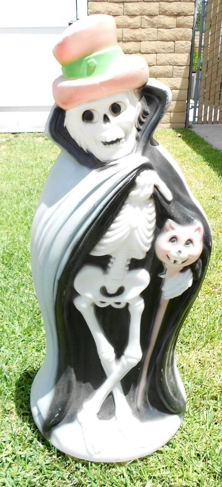 Vintage Halloween Blow Mold Skeleton With Hat Cape And Cat Cane Yard Decoration