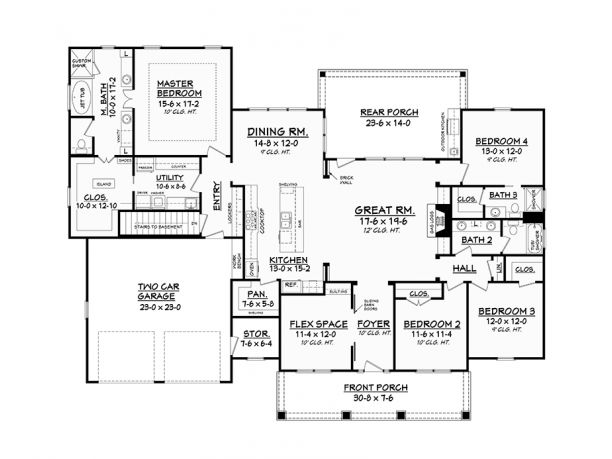1 Story Would Want To Change The 2 Bathrooms To A Jack U0026 Jill And Powder  Room. Terrific One Storey Country Ranch Home (HQ Plans)