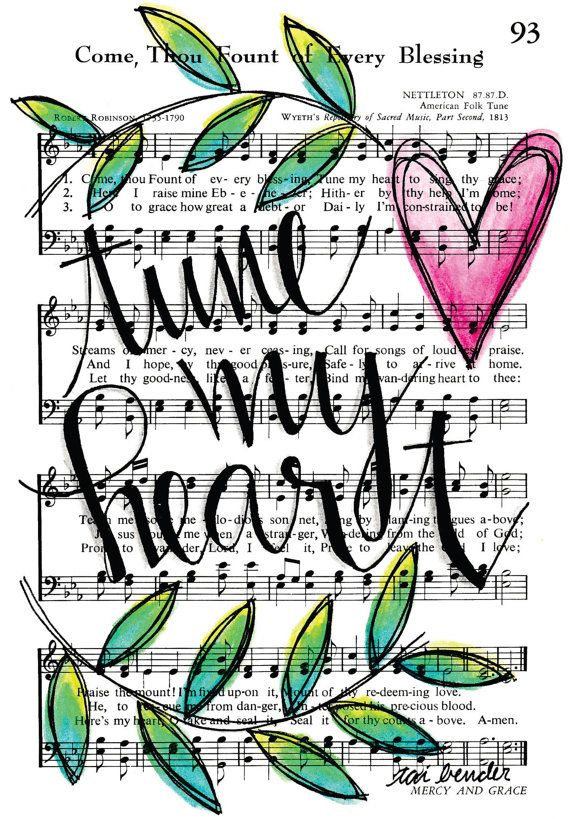 Come Thou Fount Tune My Heart 5x7 Print Hymn Fine Art Hymnal Watercolor Ink Painting Praise Sheet Music Hand Lettering Calligraphy