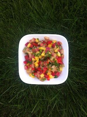 Rhubarb Salsa with Garlic Crostini | I love to eat