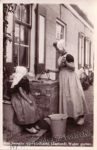 Two Girls in Dutch Traditional Costume postcard