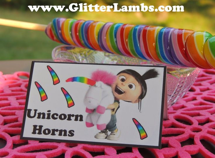 Church House Collection Blog: DIY Despicable Me Birthday Party Food Card Ideas For Kids- Unicorn Horns It's So Fluffy, Poofy Dresses Gruzinkerbell, Gru and Lucy's Wedding Rings, Vector's Orange Jumpsuits