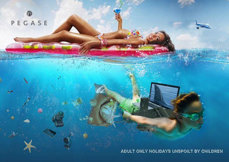 DEFINITIEF: Kindje zwemt met laptop op rug gebonden (foto van haaienvin erop, doet alsof hij een haai is). Hij heeft ook de de handtas van de mama meegenomen onder water om schelpjes te rapen en verliest tevens spullen van de moeder.
