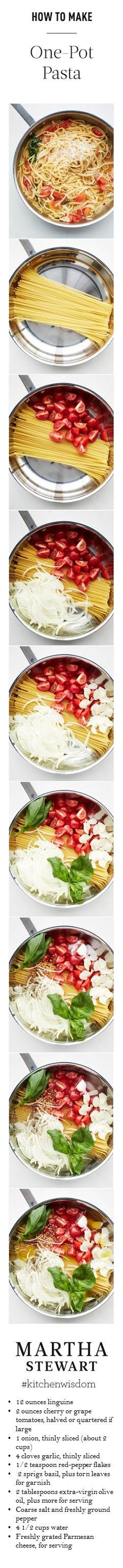 Mix  pasta, tomatoes, onion, garlic, red-pepper flakes, basil, oil, 2 tsp. salt, ¼ tsp. pepper,+water in large straight-sided skillet. Bring to boil over high heat. Boil mix, stirring+turning pasta frequently with tongs, til pasta is al dente+water has nearly evaporated, about 9 min. Season to taste divide among 4 bowls,+garnish with basil. Serve with oil+Parmesan.