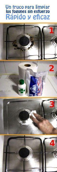 Un truco fantástico para limpiar los fogones sin esfuerzo. Rápido y eficaz.