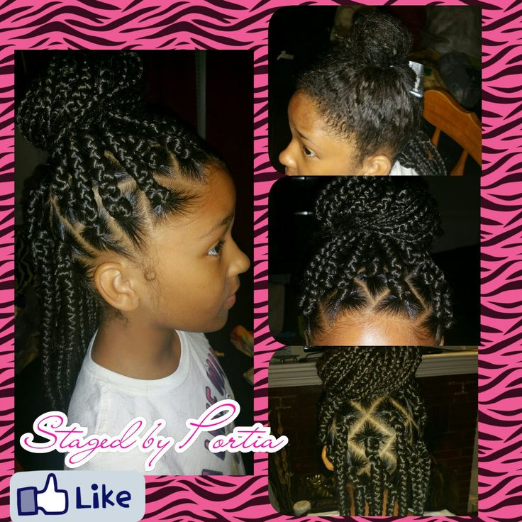 Little Girl Box Braids Staged By Portia In 2019 Braids For Kids