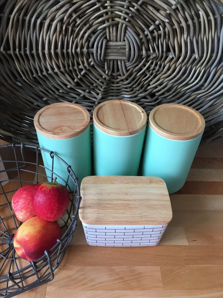 Canisters and a Subway Butter Dish from General Eclectic. Storage solutions for the kitchen.