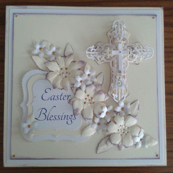 Handmade Easter Cards | Easter Blessings Handmade Card, spellbinders crosses , tim ... | Ea...