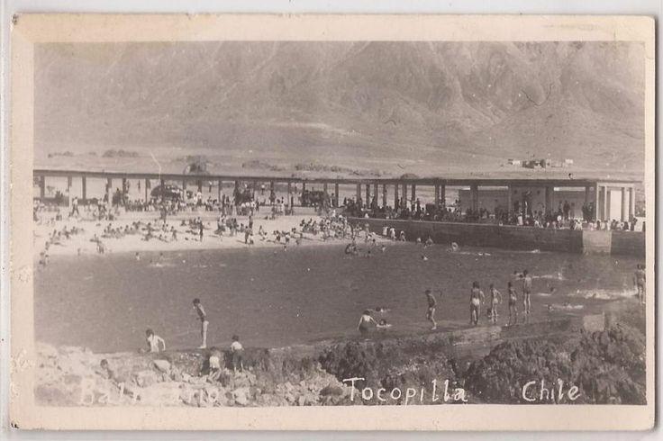 """Tocopilla, Chile Real Photo Postcard """"Balneario"""" Artificial Bathing Beach RPPC"""