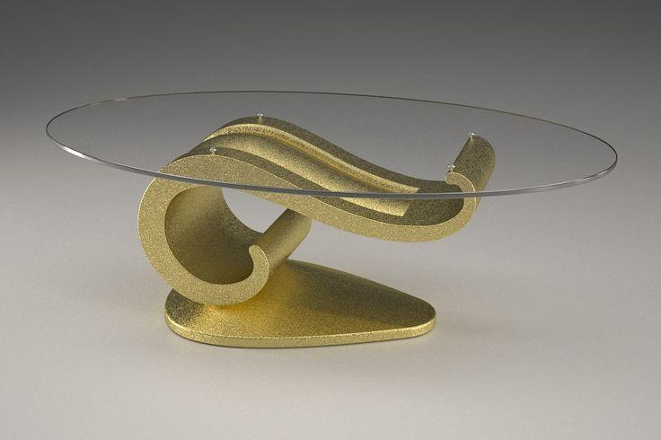 Articolo 62B-9     Tavolino da salotto Lisa - Finitura: oro.Misure: cm 110 x 65 - Altezza: cm 37 - Peso: Kg. 51Vetro: ovale -  temperato - extrawhite - filo lucido - spessore 1 cm