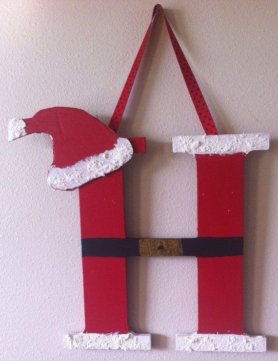 Santa Letter H  Christmas Decor by CraftyIdeabyBridgett on Etsy, $15.00