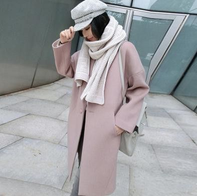 2016 New Arrival Spring Women Wool Jackets Medium Loose Long Sleeve Single Breasted Pink Wool Coat For Female CJJ0005