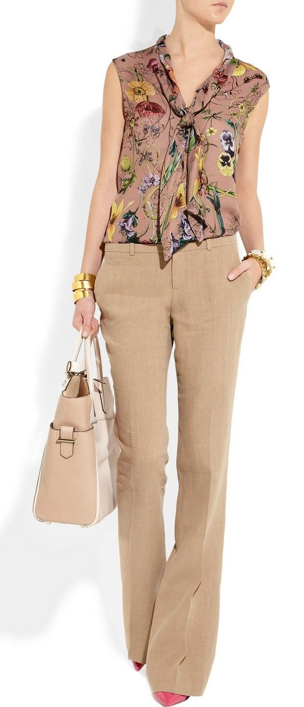 Great monochrome outfit with camel pants, brown floral blouse