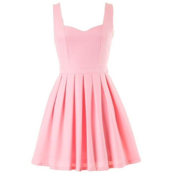 light pink heart cutout skater dress found on Polyvore