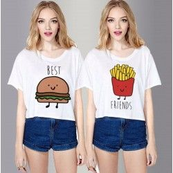 MAGLIETTA DONNA AMICA ESTATE PATATINE HAMBURGER BEST FRIENDS TOP CORTO