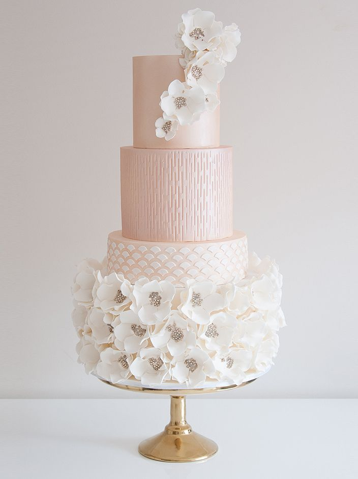 Elegant Pastel Pink Jeweled Encrusted Flowers Wedding Cake