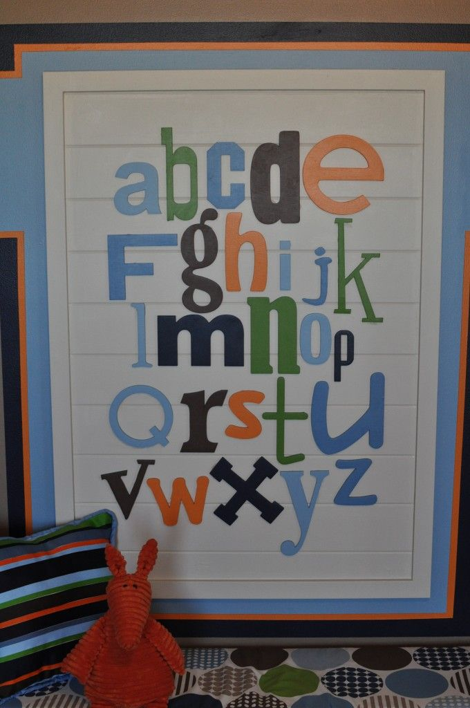 The alphabet wall was a DIY project. I ordered unfinished wooden letters in different sizes and fonts. I painted to match the room and mounted on a piece of wainscoating that we framed out.: Wall Art, Alphabet Wall, Boys, Alphabet Letters, Boy Rooms, Wooden Letters, Alphabet Art, Kids Rooms