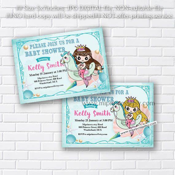Baby Shower retro Invitation baby girl Mermaid baby shower