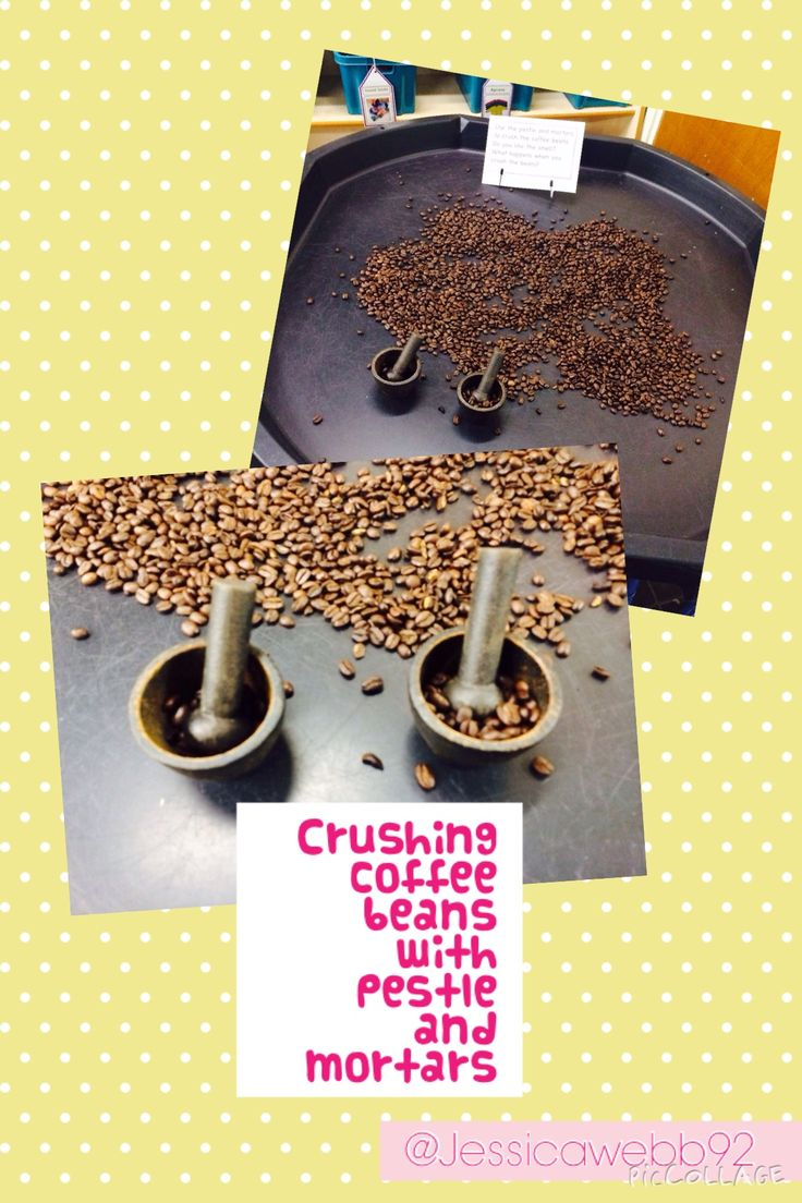 Exploring coffee beans and grinding them using pestle and mortars.