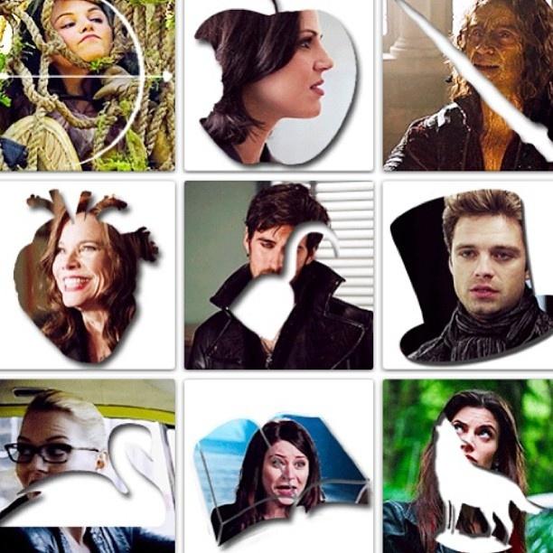 Bow=Snow, Apple=Queen, Dagger=Rumple, Heart=Cora, Hook=Hook, Hat=Hatter, Swan=Emma, Book=Belle, & Wolf=Red