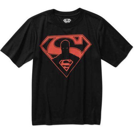 DC Comics Superman Hero In Logo Boys' Glow in Dark Poly Graphic Tee, Black