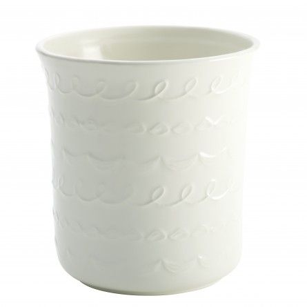 """Carlo's Bakery - Ceramic Tool Crock with """"Icing"""" Pattern, White - Bakeware"""