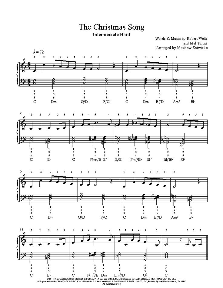 The Christmas Song by Nat King Cole Piano Sheet Music | Intermediate Level | Piano sheet music ...