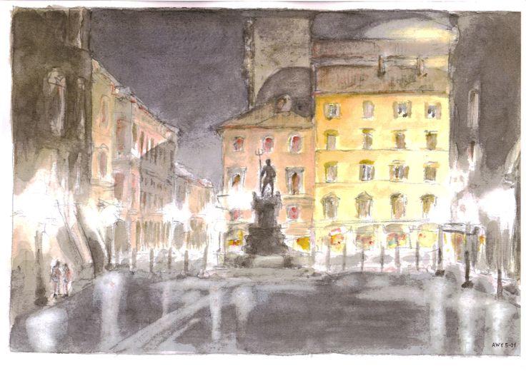 Acquarello. Bologna, Piazza del Nettuno di notte.