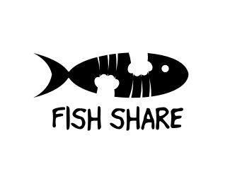Fish Share Logo design - This logo is ideal for non profit organization, charity program, pets & animals, design & creative services, entertainment, and any related businesses.