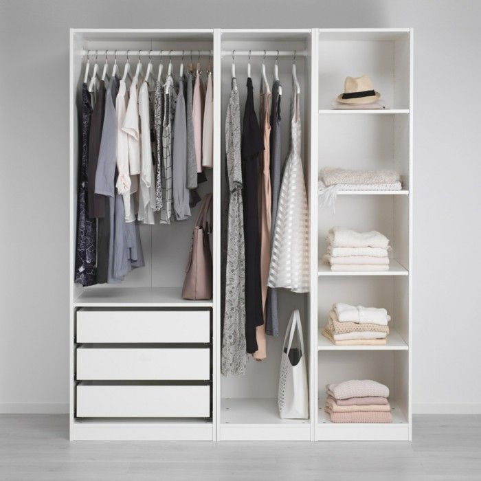 Open wardrobe IKEA small white @MANARELSAYED_ follow Pinterest for more amazing ideas