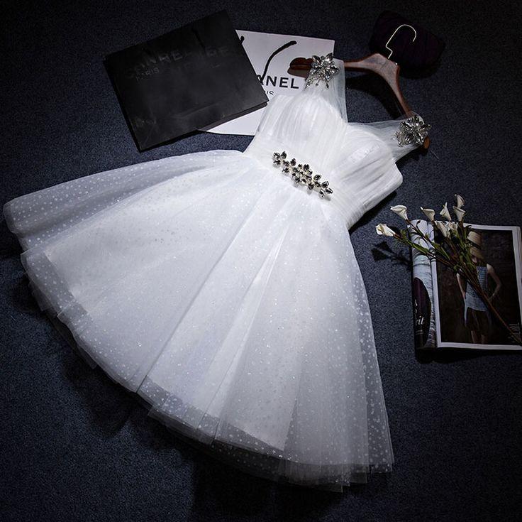 Ivoire de demoiselle d'honneur modestes élégant jolie tulle robes pour les adolescents robe courte à paillettes pour invités au mariage rencontrez dame D3251 dans Robes de demoiselles d'honneur de Mariages et événements sur AliExpress.com | Alibaba Group